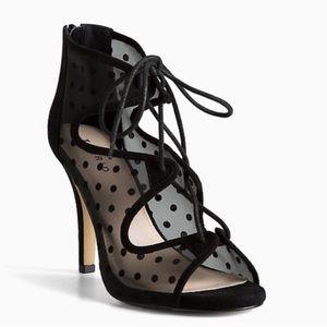 Torrid Polka Dot Mesh Lace Up Heels 11.5